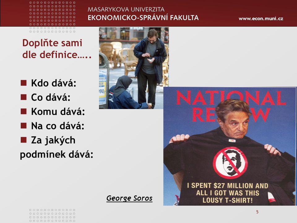 www.econ.muni.cz Váš úkol: 46 Prostudovat žádost Přidělit body za jednotlivé kategorie Napsat silné a slabé stránky projektu Rozhodnout, zda byste daný projekt: Podpořili Doporučili k přepracování Zamítli