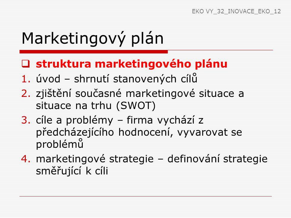 Marketingový plán  struktura marketingového plánu 1.úvod – shrnutí stanovených cílů 2.zjištění současné marketingové situace a situace na trhu (SWOT) 3.cíle a problémy – firma vychází z předcházejícího hodnocení, vyvarovat se problémů 4.marketingové strategie – definování strategie směřující k cíli EKO VY_32_INOVACE_EKO_12