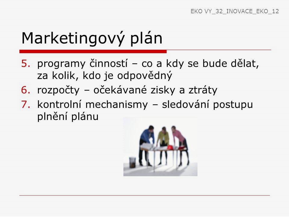 Marketingový plán 5.programy činností – co a kdy se bude dělat, za kolik, kdo je odpovědný 6.rozpočty – očekávané zisky a ztráty 7.kontrolní mechanismy – sledování postupu plnění plánu EKO VY_32_INOVACE_EKO_12