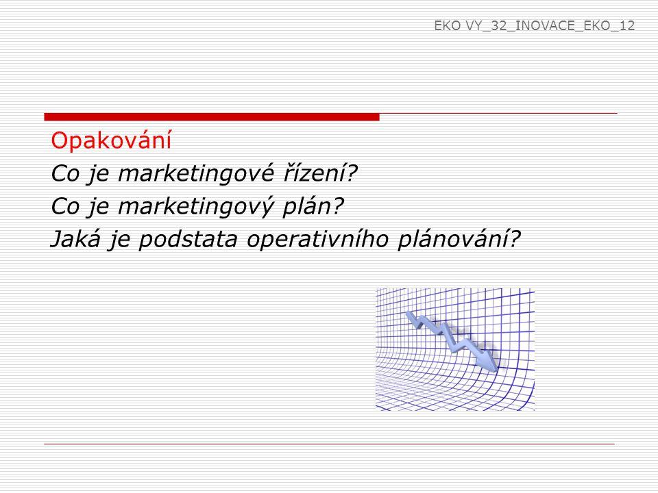 Opakování Co je marketingové řízení. Co je marketingový plán.