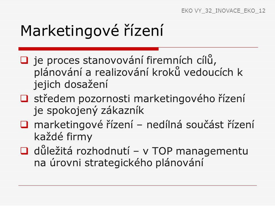 Marketingové řízení  je proces stanovování firemních cílů, plánování a realizování kroků vedoucích k jejich dosažení  středem pozornosti marketingového řízení je spokojený zákazník  marketingové řízení – nedílná součást řízení každé firmy  důležitá rozhodnutí – v TOP managementu na úrovni strategického plánování EKO VY_32_INOVACE_EKO_12
