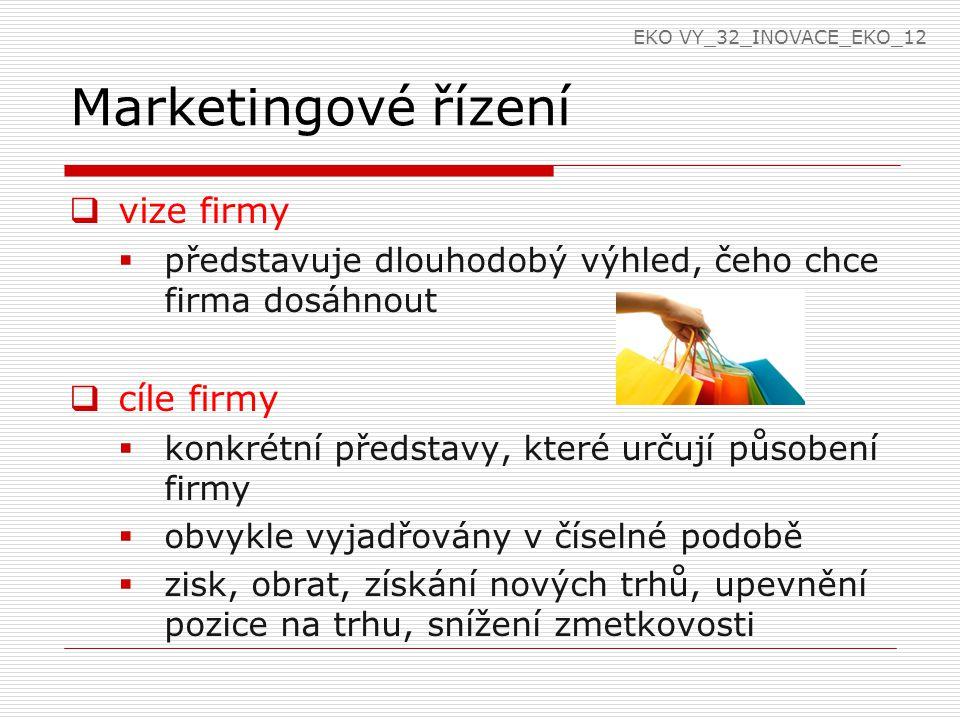 Marketingové řízení  vize firmy  představuje dlouhodobý výhled, čeho chce firma dosáhnout  cíle firmy  konkrétní představy, které určují působení firmy  obvykle vyjadřovány v číselné podobě  zisk, obrat, získání nových trhů, upevnění pozice na trhu, snížení zmetkovosti EKO VY_32_INOVACE_EKO_12