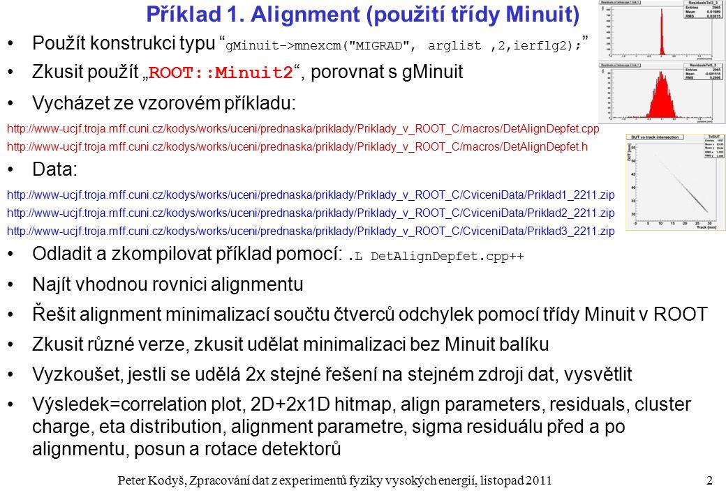 Peter Kodyš, Zpracování dat z experimentů fyziky vysokých energií, listopad 20112 Příklad 1.