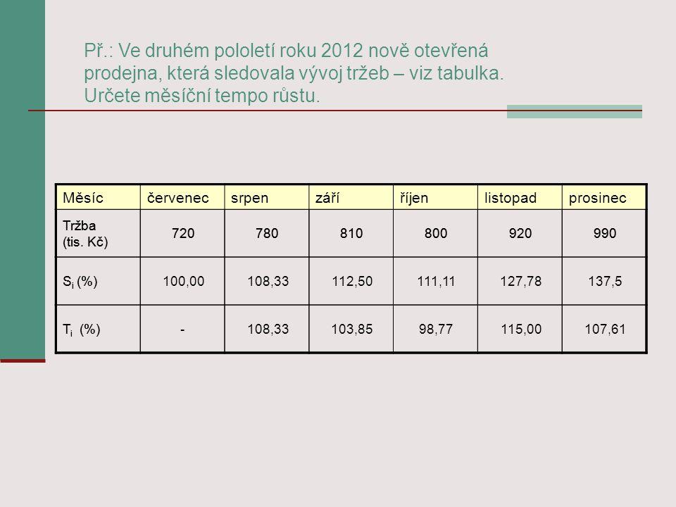 Př.: Ve druhém pololetí roku 2012 nově otevřená prodejna, která sledovala vývoj tržeb – viz tabulka. Určete měsíční tempo růstu. Měsícčervenecsrpenzář