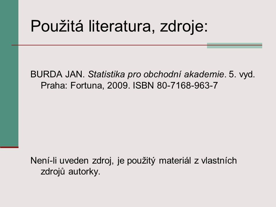 Použitá literatura, zdroje: BURDA JAN. Statistika pro obchodní akademie.
