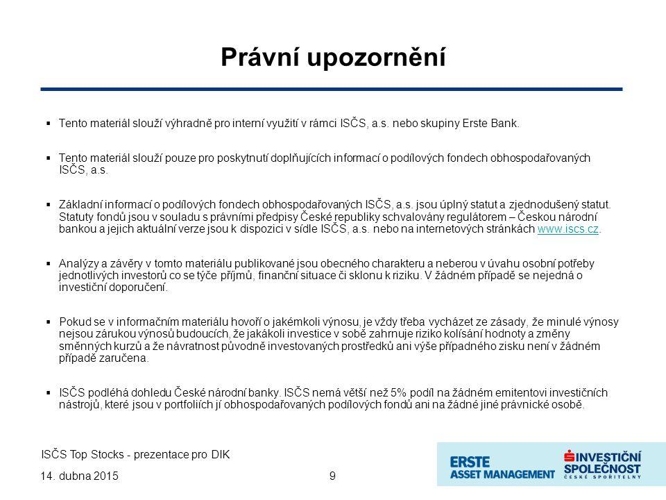 914. dubna 2015 Právní upozornění  Tento materiál slouží výhradně pro interní využití v rámci ISČS, a.s. nebo skupiny Erste Bank.  Tento materiál sl