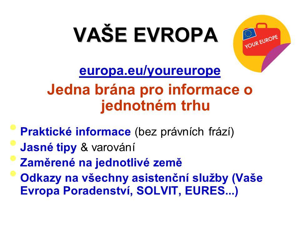 VAŠE EVROPA europa.eu/youreurope Jedna brána pro informace o jednotném trhu Praktické informace (bez právních frází) Jasné tipy & varování Zaměrené na jednotlivé země Odkazy na všechny asistenční služby (Vaše Evropa Poradenství, SOLVIT, EURES...)