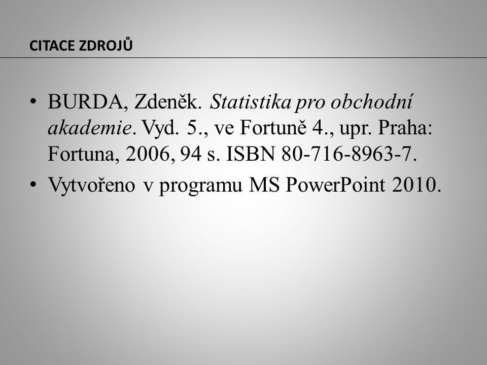 CITACE ZDROJŮ BURDA, Zdeněk. Statistika pro obchodní akademie. Vyd. 5., ve Fortuně 4., upr. Praha: Fortuna, 2006, 94 s. ISBN 80-716-8963-7. Vytvořeno