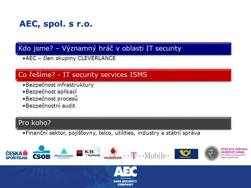 AEC, spol. s r.o. Kdo jsme? – Významný hráč v oblasti IT security AEC – člen skupiny CLEVERLANCE Co řešíme? - IT security services ISMS Bezpečnost inf