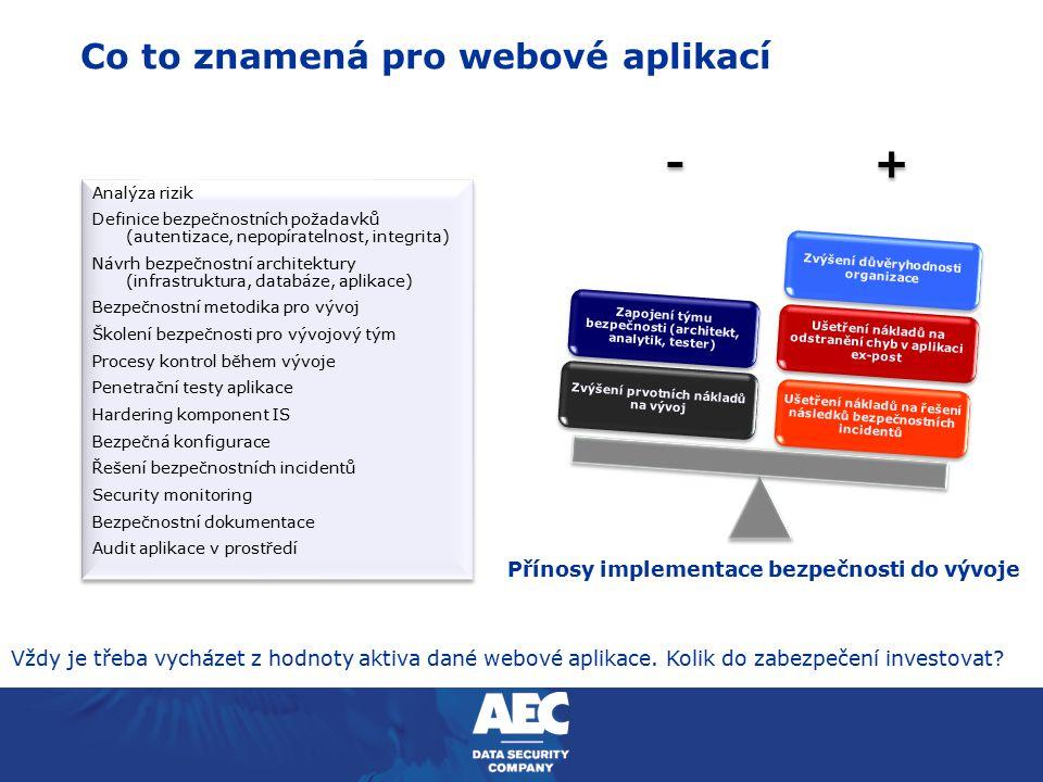 Co to znamená pro webové aplikací - + Ušetření nákladů na řešení následků bezpečnostních incidentů Ušetření nákladů na odstranění chyb v aplikaci ex-p