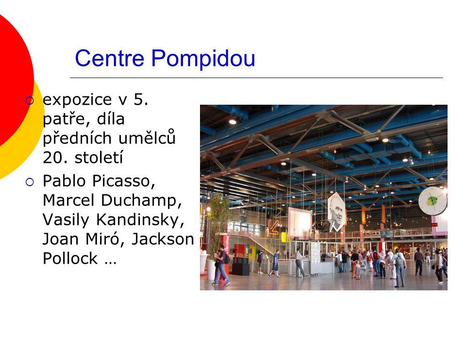 Centre Pompidou  expozice v 5. patře, díla předních umělců 20. století  Pablo Picasso, Marcel Duchamp, Vasily Kandinsky, Joan Miró, Jackson Pollock