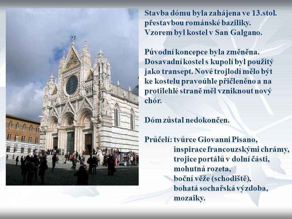 Stavba dómu byla zahájena ve 13.stol. přestavbou románské baziliky. Vzorem byl kostel v San Galgano. Původní koncepce byla změněna. Dosavadní kostel s
