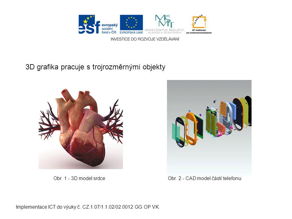 Implementace ICT do výuky č. CZ.1.07/1.1.02/02.0012 GG OP VK 3D grafika pracuje s trojrozměrnými objekty Obr. 1 - 3D model srdceObr. 2 - CAD model čás