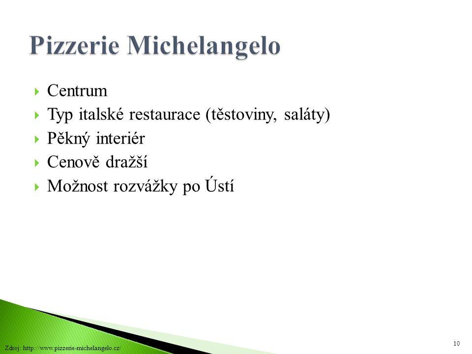  Centrum  Typ italské restaurace (těstoviny, saláty)  Pěkný interiér  Cenově dražší  Možnost rozvážky po Ústí 10 Zdroj: http://www.pizzerie-miche