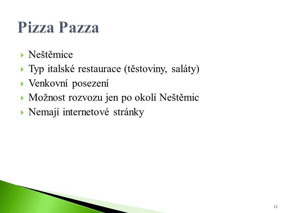  Neštěmice  Typ italské restaurace (těstoviny, saláty)  Venkovní posezení  Možnost rozvozu jen po okolí Neštěmic  Nemají internetové stránky 11