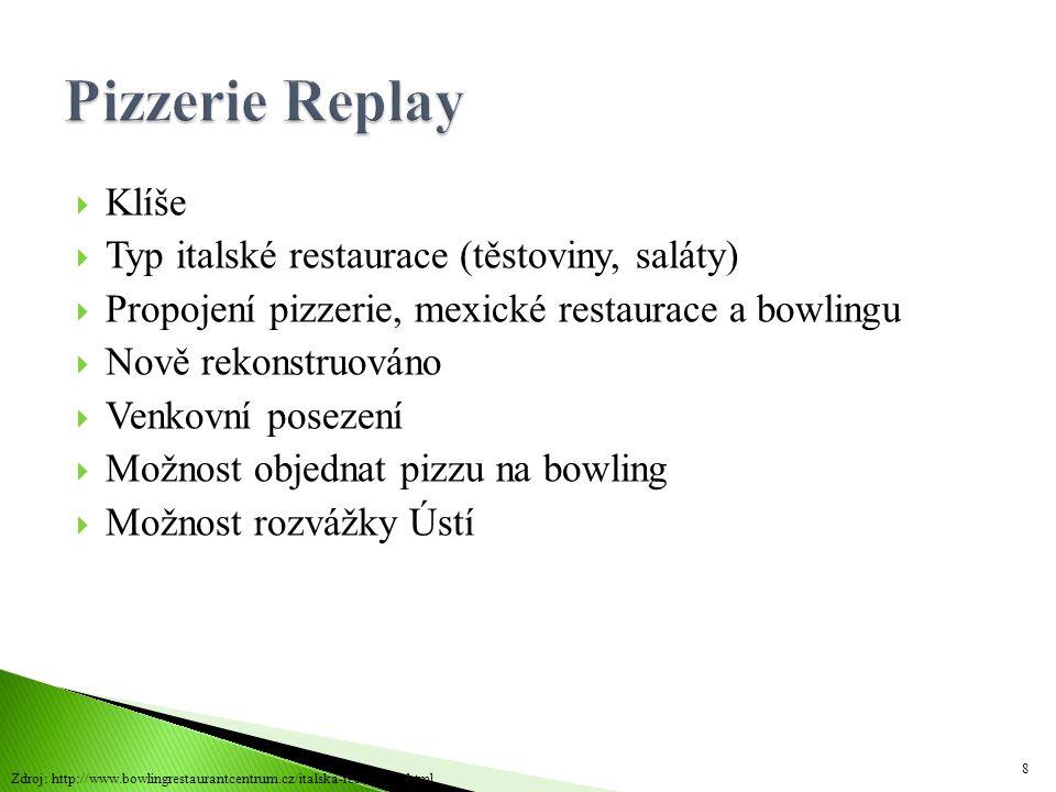  Klíše  Typ italské restaurace (těstoviny, saláty)  Propojení pizzerie, mexické restaurace a bowlingu  Nově rekonstruováno  Venkovní posezení  M