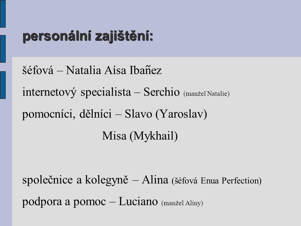 personální zajištění: šéfová – Natalia Aísa Iba ᷉ nez internetový specialista – Serchio (manžel Natalie) pomocníci, dělníci – Slavo (Yaroslav) Misa (Mykhail) společnice a kolegyně – Alina (šéfová Enua Perfection) podpora a pomoc – Luciano (manžel Aliny)