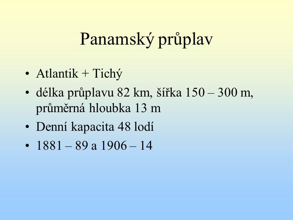 Panamský průplav Atlantik + Tichý délka průplavu 82 km, šířka 150 – 300 m, průměrná hloubka 13 m Denní kapacita 48 lodí 1881 – 89 a 1906 – 14