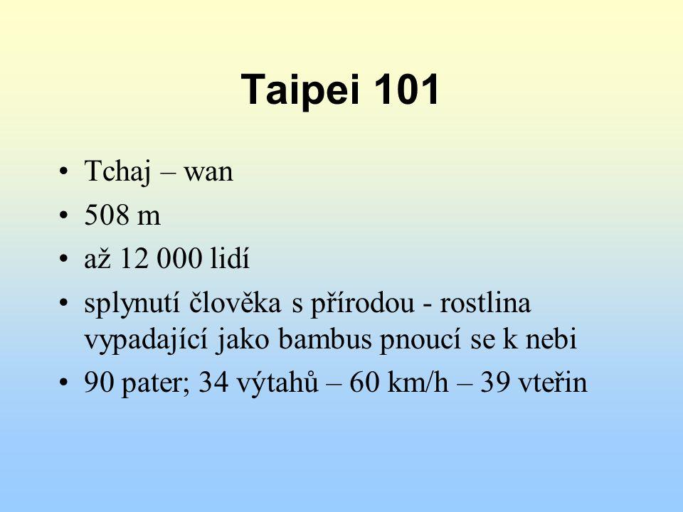 Taipei 101 Tchaj – wan 508 m až 12 000 lidí splynutí člověka s přírodou - rostlina vypadající jako bambus pnoucí se k nebi 90 pater; 34 výtahů – 60 km/h – 39 vteřin