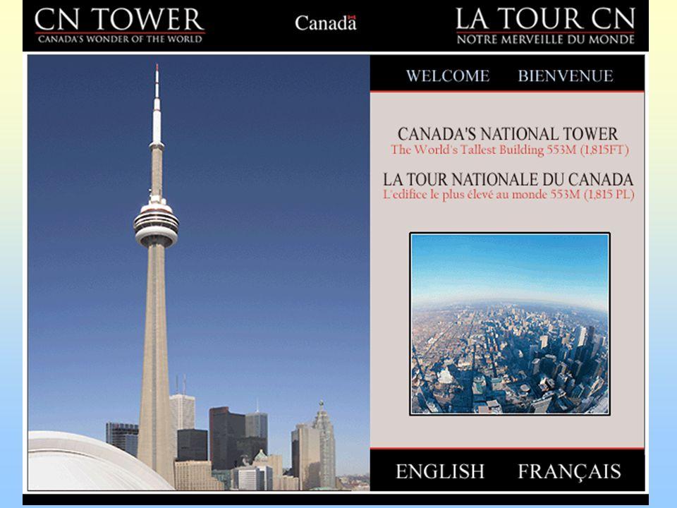 Kanadská národní věž( CN) 533,33 metrů; 1976; Toronto - Ontario Canadian National Tower – demonstrace síly kanadského průmyslu Vysílač 1,7 miliónu ročně 360 m - restaurace