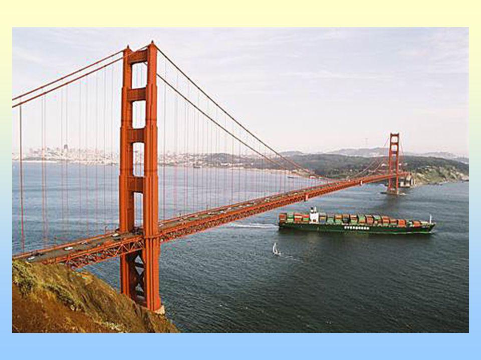 Most Zlaté brány San Francisko; visutý most 1937 – hospodářská krize dlouhý 2730 metrů; věže - 230m 3 proudy z obou stran 120 500 aut sebevraždy