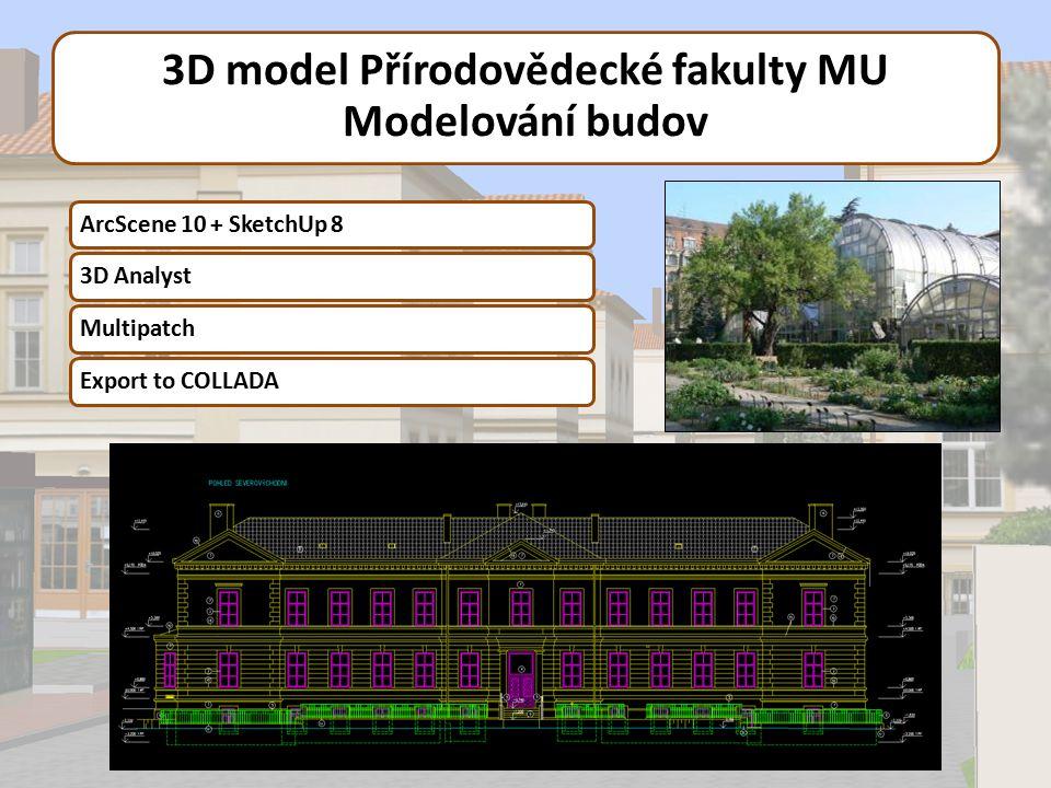 3D model Přírodovědecké fakulty MU Modelování budov ArcScene 10 + SketchUp 83D AnalystMultipatchExport to COLLADA