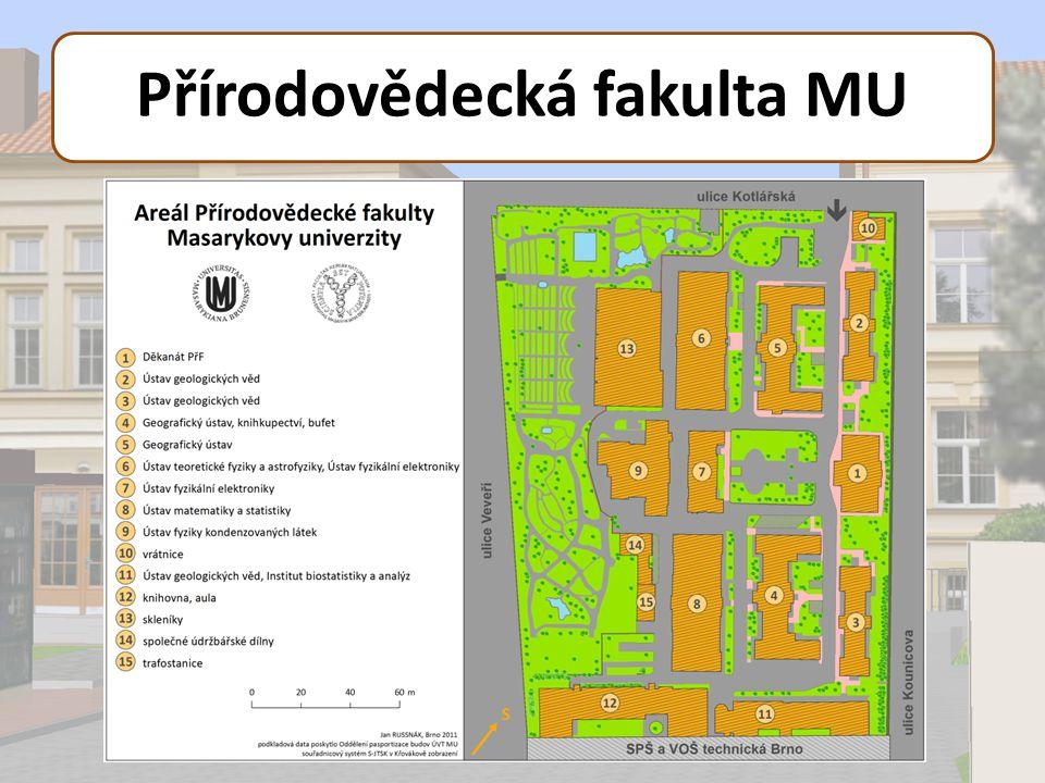 3D model Přírodovědecké fakulty MU Podkladová data Data poskytnutá OPB ÚVT MU - Stavební výkresy - Geodatabáze stavebního pasportu Měření totální stanicí