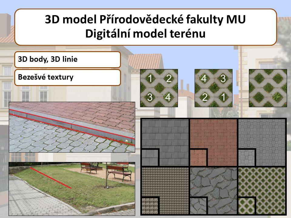 3D model Přírodovědecké fakulty MU Digitální model terénu 3D body, 3D linieBezešvé textury