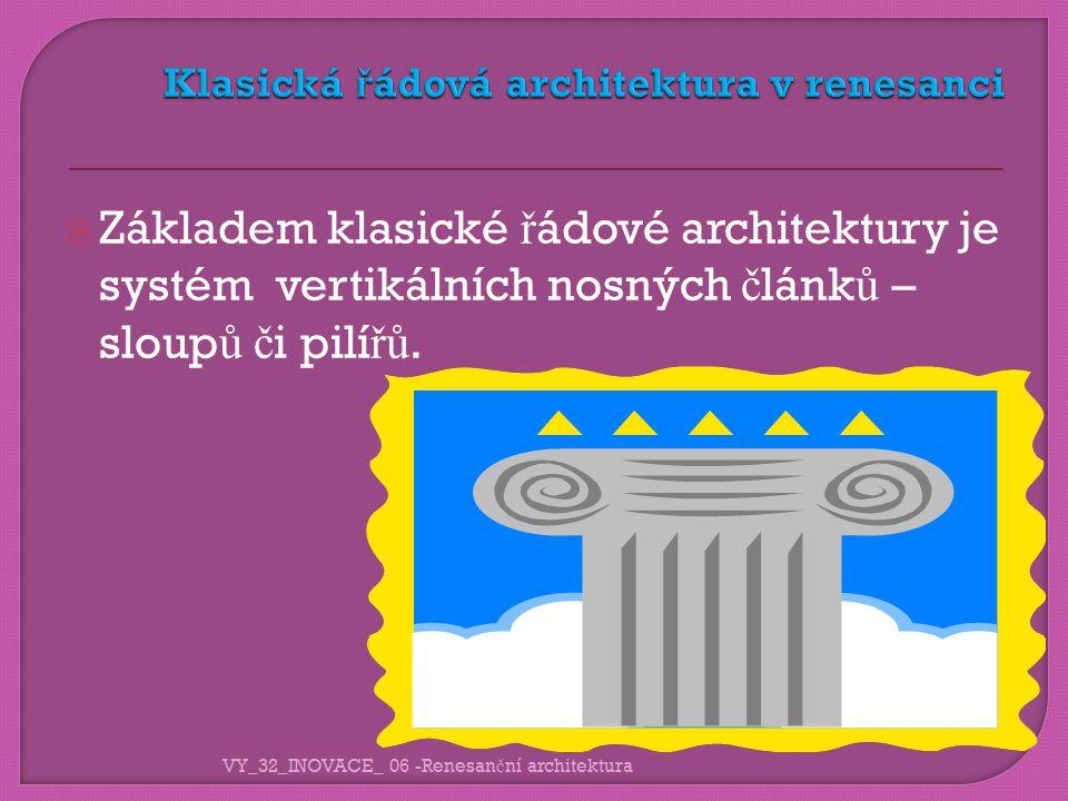  Základem klasické ř ádové architektury je systém vertikálních nosných č lánk ů – sloup ů č i pilí řů.