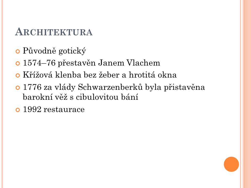 I NTERIÉR 1588 - nástěnná malba od Tobiáše Else - Vilém z Rožmberka a dvě z jeho žen Kateřina Brunšvická a Žofie Braniborská z Hohenzollernu 1622 - během konfiskace majetku rodu Švamberků vybavení přesunuto na Hlubokou 1835 - výroba oltářů - Dmitrij Petrovič a Karel Schiller
