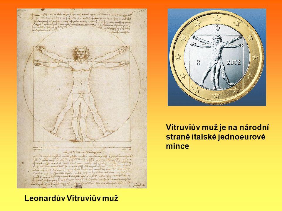 Leonardův Vitruviův muž Vitruviův muž je na národní straně italské jednoeurové mince