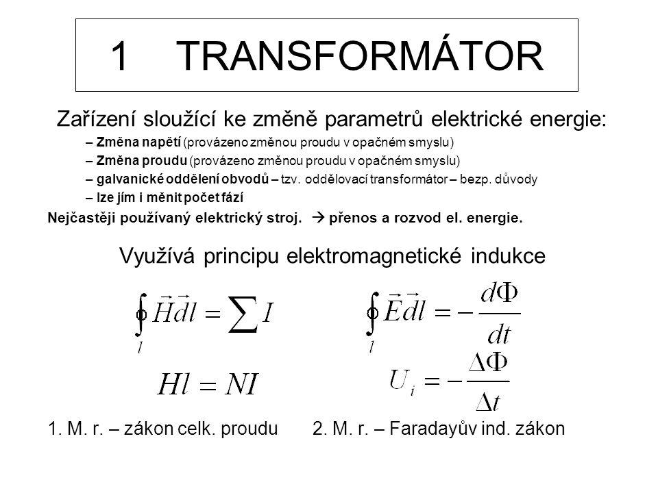 1 TRANSFORMÁTOR Zařízení sloužící ke změně parametrů elektrické energie: – Změna napětí (provázeno změnou proudu v opačném smyslu) – Změna proudu (pro