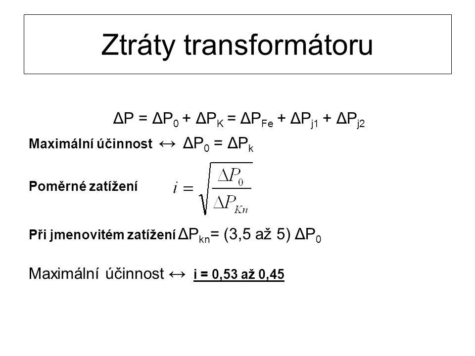 Ztráty transformátoru ΔP = ΔP 0 + ΔP K = ΔP Fe + ΔP j1 + ΔP j2 Maximální účinnost ↔ ΔP 0 = ΔP k Poměrné zatížení Při jmenovitém zatížení ΔP kn = (3,5