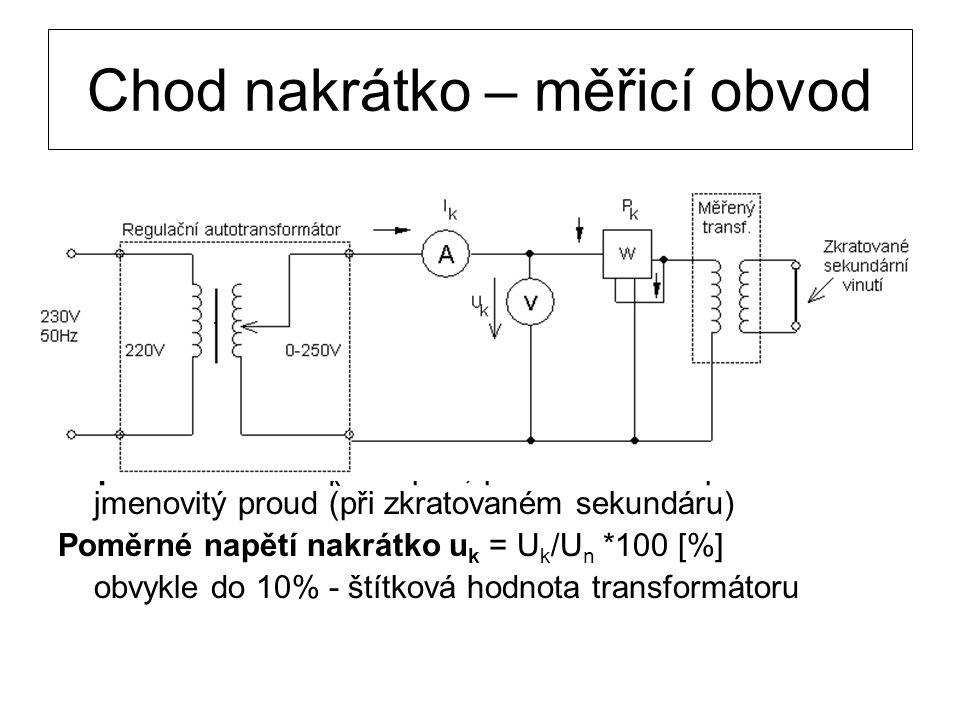 Napětí nakrátko U k – napětí, při kterém teče primárem jmenovitý proud (při zkratovaném sekundáru) Poměrné napětí nakrátko u k = U k /U n *100 [%] obv