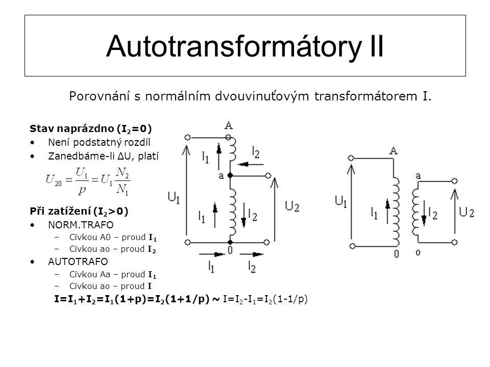 Autotransformátory II Porovnání s normálním dvouvinuťovým transformátorem I. Stav naprázdno (I 2 =0) Není podstatný rozdíl Zanedbáme-li ΔU, platí Při