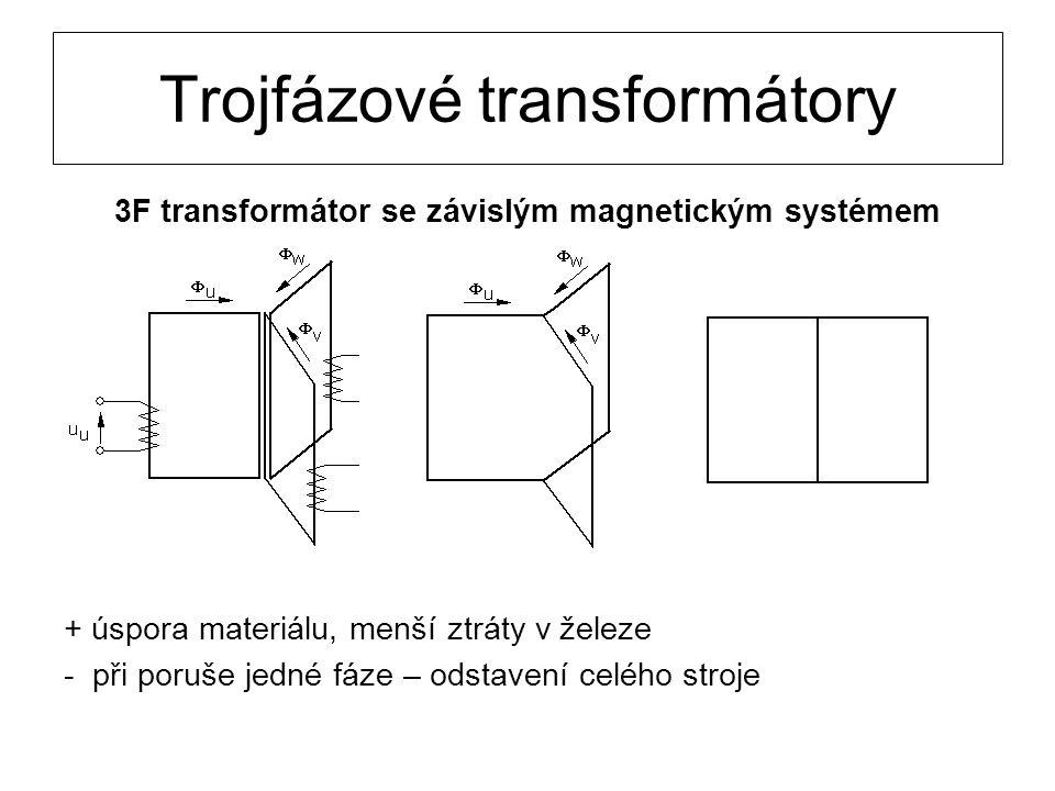 Trojfázové transformátory 3F transformátor se závislým magnetickým systémem + úspora materiálu, menší ztráty v železe - při poruše jedné fáze – odstav