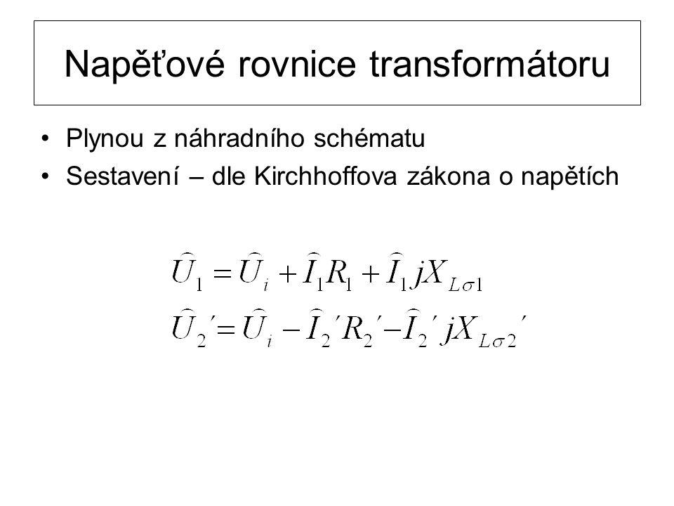 Napěťové rovnice transformátoru Plynou z náhradního schématu Sestavení – dle Kirchhoffova zákona o napětích