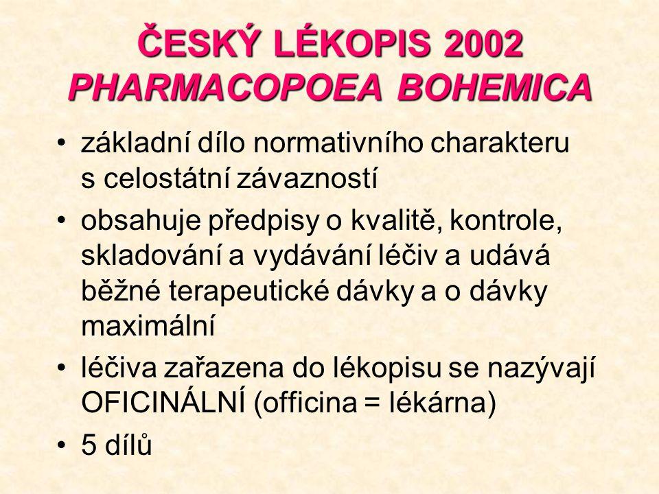 ČESKÝ LÉKOPIS 2002 PHARMACOPOEA BOHEMICA základní dílo normativního charakteru s celostátní závazností obsahuje předpisy o kvalitě, kontrole, skladování a vydávání léčiv a udává běžné terapeutické dávky a o dávky maximální léčiva zařazena do lékopisu se nazývají OFICINÁLNÍ (officina = lékárna) 5 dílů