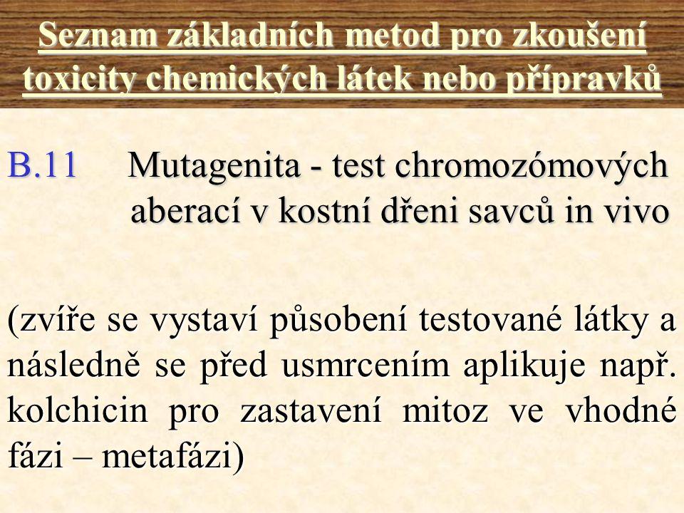 B.11 Mutagenita - test chromozómových aberací v kostní dřeni savců in vivo Seznam základních metod pro zkoušení toxicity chemických látek nebo příprav