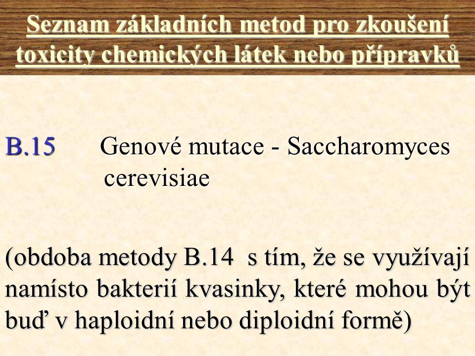 B.15Genové mutace - Saccharomyces cerevisiae Seznam základních metod pro zkoušení toxicity chemických látek nebo přípravků (obdoba metody B.14 s tím,