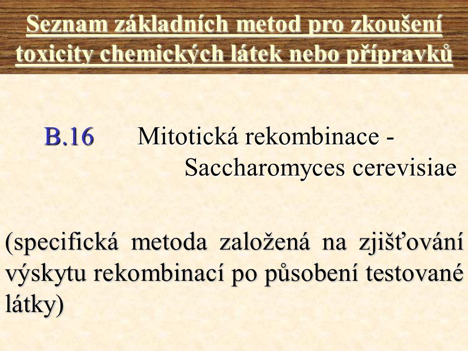 B.16Mitotická rekombinace - Saccharomyces cerevisiae Seznam základních metod pro zkoušení toxicity chemických látek nebo přípravků (specifická metoda