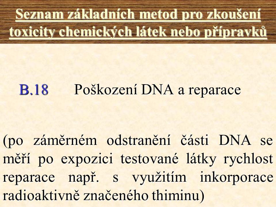 B.18Poškození DNA a reparace Seznam základních metod pro zkoušení toxicity chemických látek nebo přípravků (po záměrném odstranění části DNA se měří p