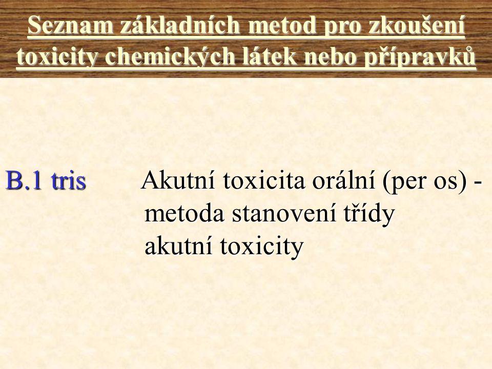 B.1 tris Akutní toxicita orální (per os) - metoda stanovení třídy akutní toxicity Seznam základních metod pro zkoušení toxicity chemických látek nebo