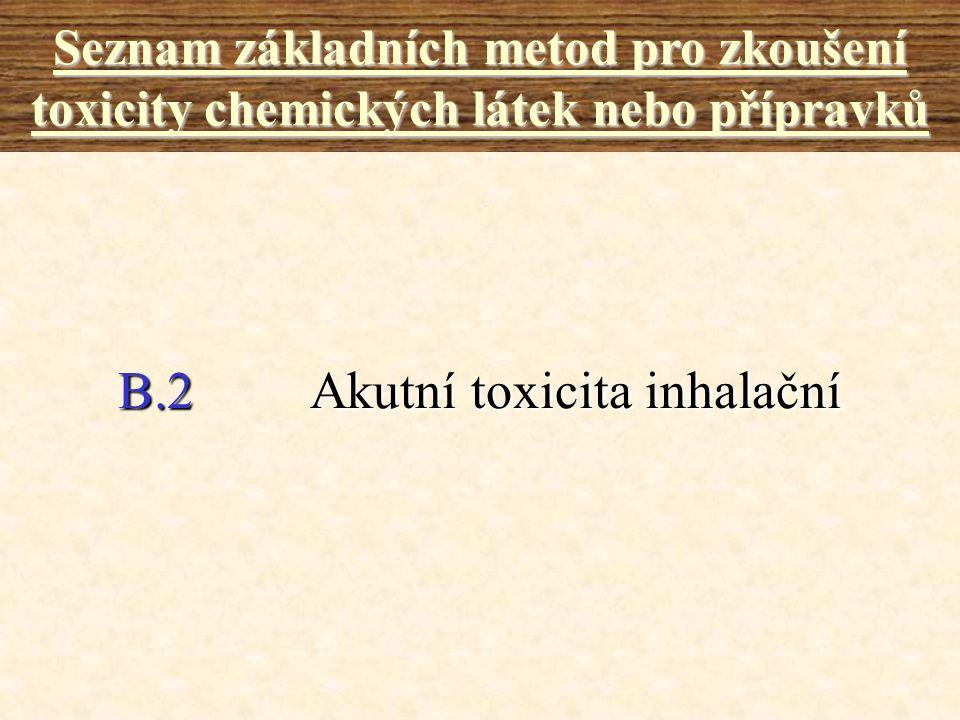 B.2Akutní toxicita inhalační Seznam základních metod pro zkoušení toxicity chemických látek nebo přípravků