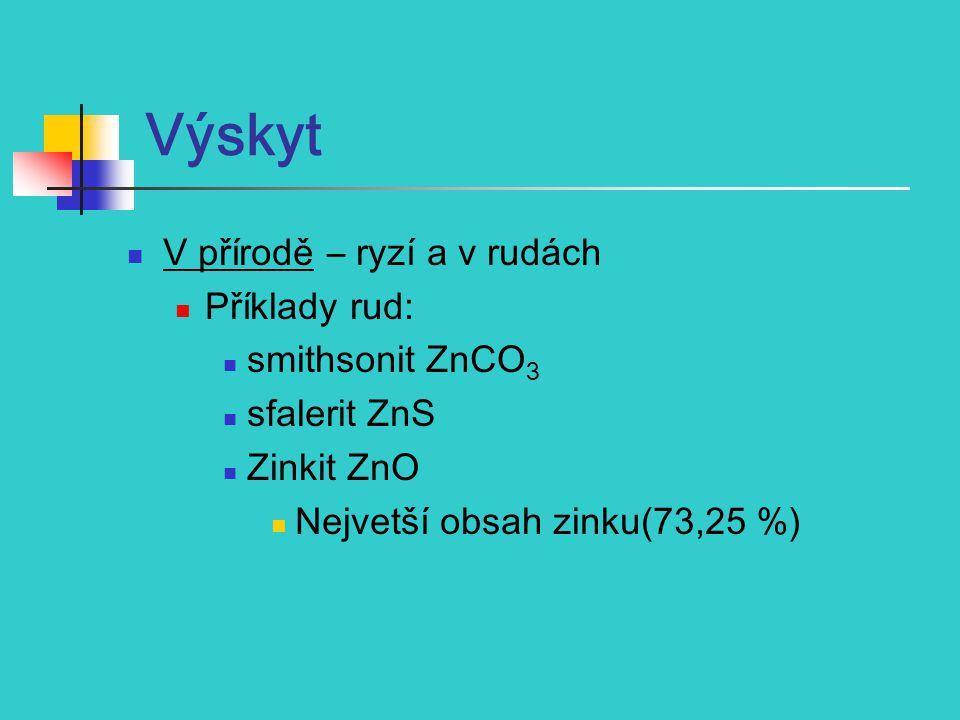 Výskyt V přírodě – ryzí a v rudách Příklady rud: smithsonit ZnCO 3 sfalerit ZnS Zinkit ZnO Nejvetší obsah zinku(73,25 %)