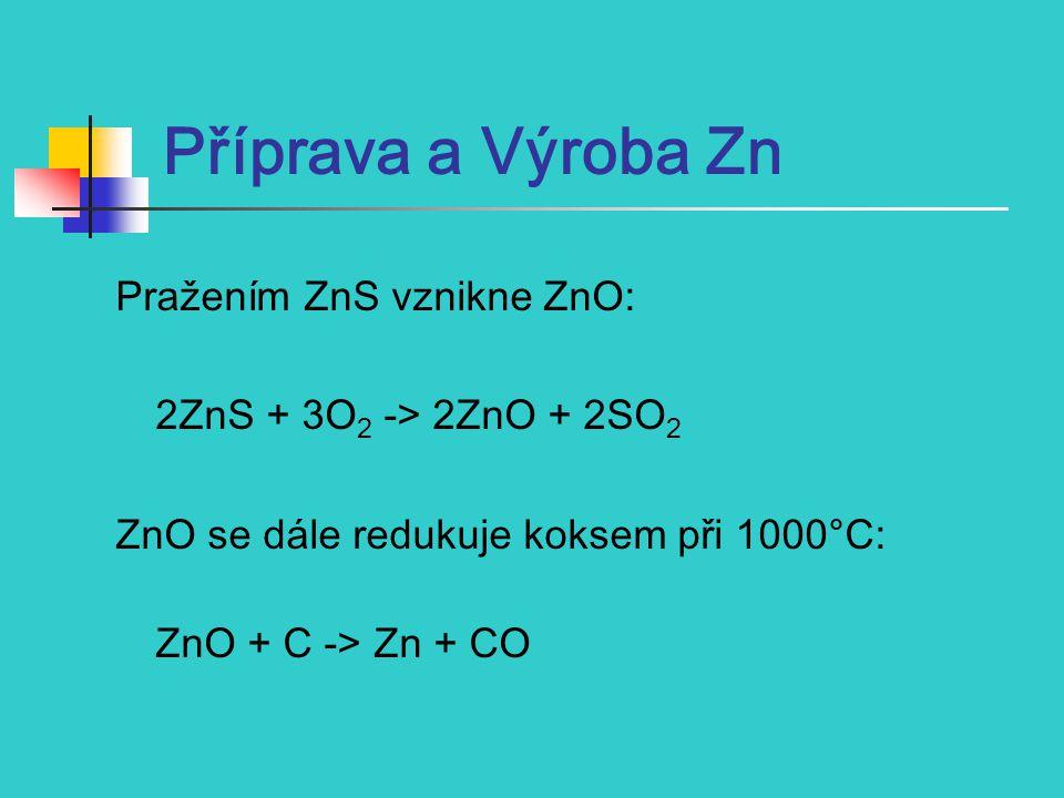 Příprava a Výroba Zn Pražením ZnS vznikne ZnO: 2ZnS + 3O 2 -> 2ZnO + 2SO 2 ZnO se dále redukuje koksem při 1000°C: ZnO + C -> Zn + CO