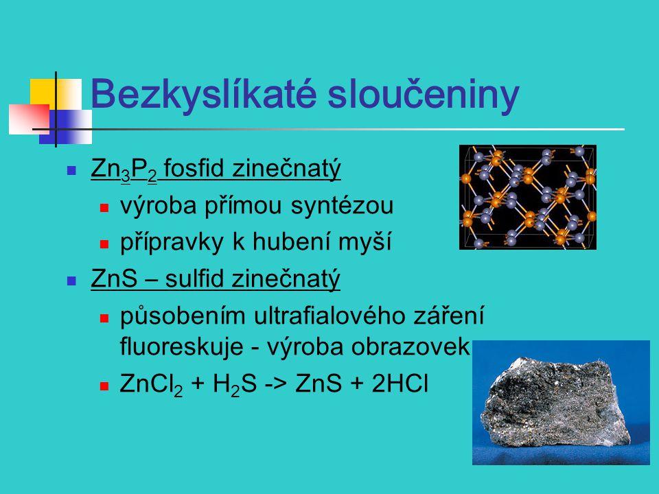 1) H ALOGENIDY vznikají působením HF, HCl, Br 2, I 2 na zahřátý kov ZnF 2 - málo rozpustný ZnCl 2 - impregnace dřeva, úprava textílií, čistění povrchů kovů před pájením ZnBr 2, ZnI 2 - bílé rozpustné látky vytváří podvojné soli např.
