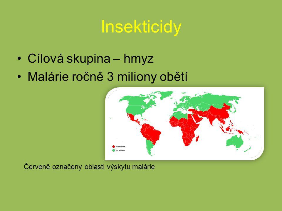 Insekticidy Cílová skupina – hmyz Malárie ročně 3 miliony obětí Červeně označeny oblasti výskytu malárie