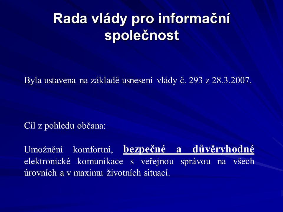 Rada vlády pro informační společnost Byla ustavena na základě usnesení vlády č. 293 z 28.3.2007. Cíl z pohledu občana: Umožnění komfortní, bezpečné a