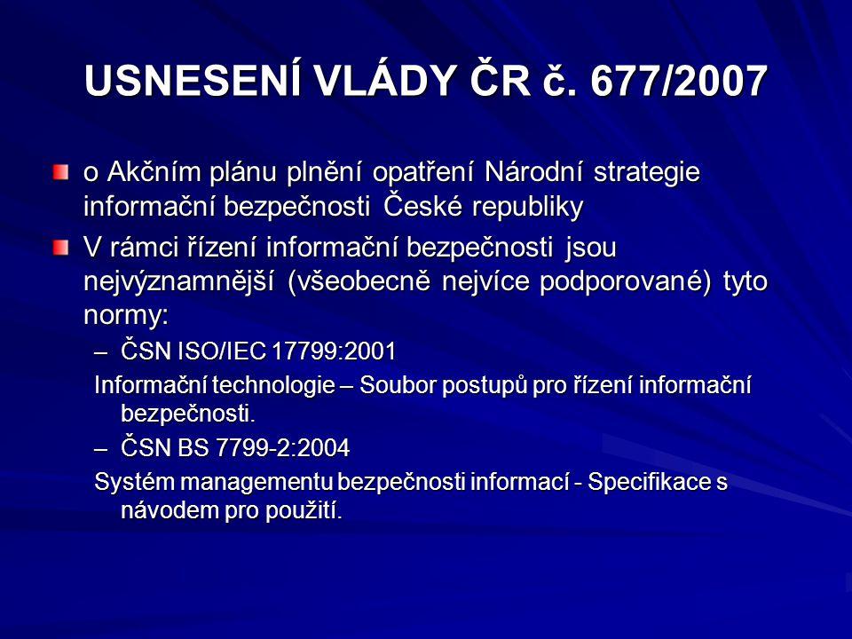 USNESENÍ VLÁDY ČR č. 677/2007 o Akčním plánu plnění opatření Národní strategie informační bezpečnosti České republiky V rámci řízení informační bezpeč